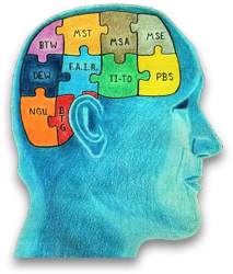 Man with brain represented as connected puzzle peices